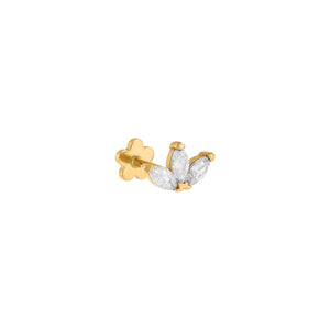 14K Gold / Single CZ Colored Marquise Threaded Stud Earring 14K - Adina's Jewels