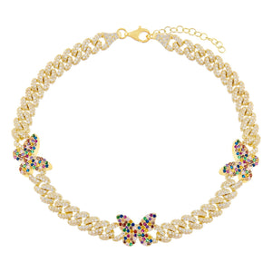 Multi-Color Pavé Rainbow Butterfly Chain Link Anklet - Adina's Jewels