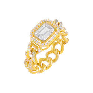 Gold / 6 CZ Colored Cuban Chain Ring - Adina's Jewels