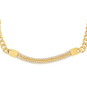 Gold Tennis X Cuban Chain Choker - Adina's Jewels