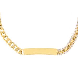 Gold Engraved Tennis X Cuban Chain Bar Choker - Adina's Jewels