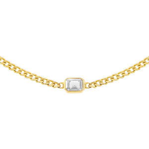 Gold Colored Baguette Cuban Choker - Adina's Jewels