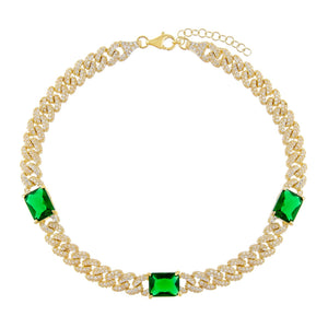 Emerald Green CZ Baguette Chain Link Anklet - Adina's Jewels