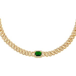 Emerald Green CZ Colored Baguette Chain Link Choker - Adina's Jewels