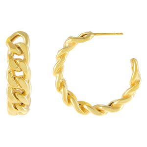 Gold Chunky Cuban Chain Hoop Earring - Adina's Jewels