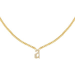 Gold Pavé Gothic Lowercase Initial Necklace - Adina's Jewels