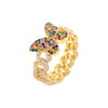 Multi-Color / 6 Pavé Rainbow Butterfly Chain Link Ring - Adina's Jewels