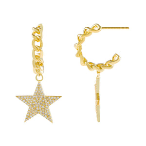 Gold Pavé Star Cuban Hoop Earring - Adina's Jewels