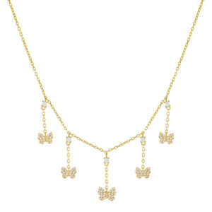 Gold CZ Multi Butterfly Dangling Necklace - Adina's Jewels