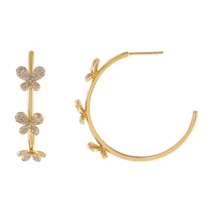 14K Gold Diamond Triple Butterfly Hoop Earring 14K - Adina's Jewels