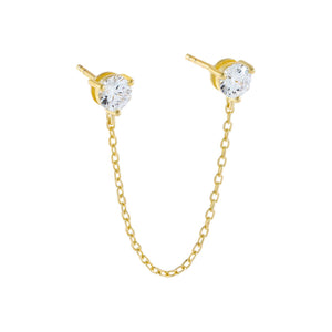 Gold CZ Stone Chain Stud Earring - Adina's Jewels