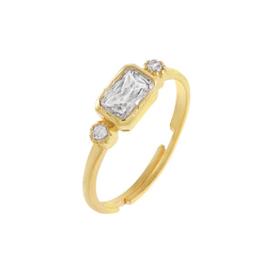 Gold / 6 CZ Colored Baguette Stone Ring - Adina's Jewels