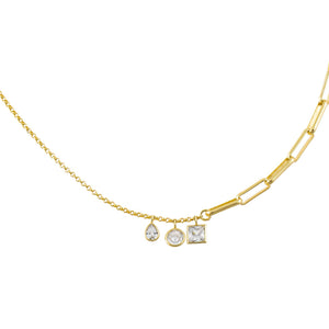 Gold CZ Charms Rolo X Link Chain Necklace - Adina's Jewels