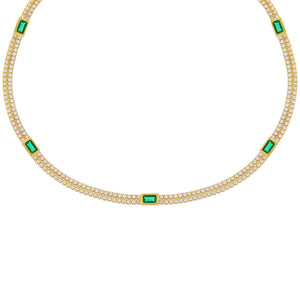 Emerald Green CZ Baguette Double Row Tennis Choker - Adina's Jewels