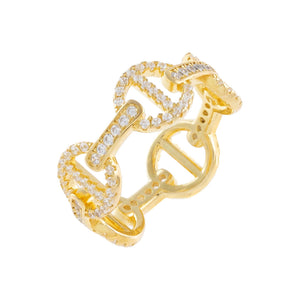 Gold / 7 Pavé Mariner Link Ring - Adina's Jewels