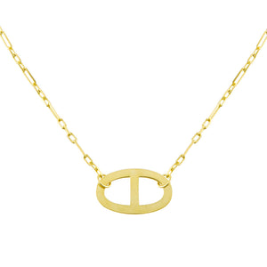 Gold Large Thin Mariner Link Necklace - Adina's Jewels