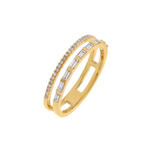 14K Gold / 6 Diamond Baguette X Pavé Double Row Ring 14K - Adina's Jewels