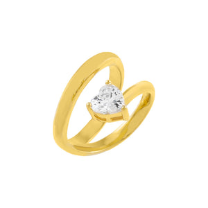 Gold / 6 CZ Colored Heart Wrap Ring - Adina's Jewels