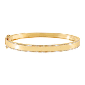 14K Gold Diamond Pavé X Solid Bangle 14K - Adina's Jewels