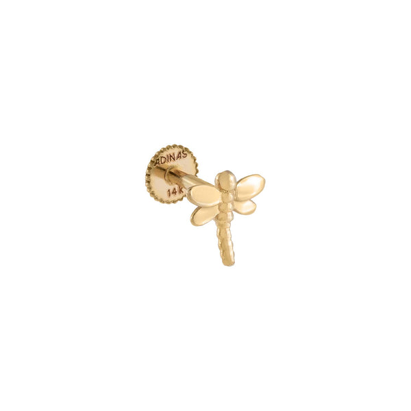 14K Gold / Single Dragonfly Threaded Stud Earring 14K - Adina's Jewels