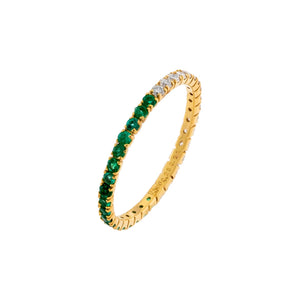 Emerald Green / 5 Diamond Thin Emerald Ring 14K - Adina's Jewels