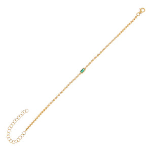 Emerald Green Emerald Diamond Baguette Tennis Bracelet 14K - Adina's Jewels