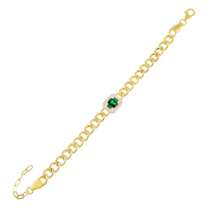 Emerald Green CZ Emerald Colored Cuban Link Bracelet - Adina's Jewels