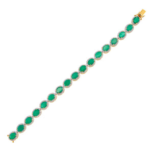 Emerald Green Diamond X Emerald Stone Tennis Bracelet 18K - Adina's Jewels