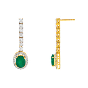 Diamond x Emerald Tennis Drop Stud Earring 14K