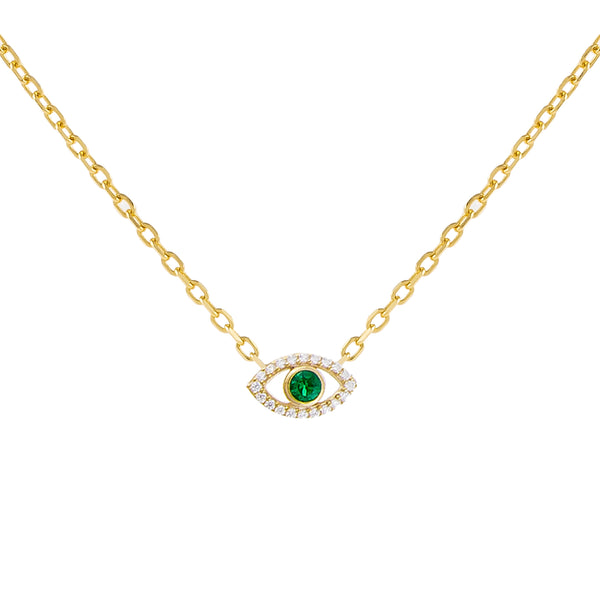 Emerald Green CZ Colored Evil Eye Necklace - Adina's Jewels