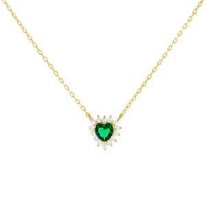 Emerald Green CZ Emerald Heart Necklace - Adina's Jewels