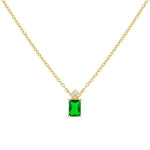 Emerald Green CZ Colored Emerald Stone Necklace - Adina's Jewels