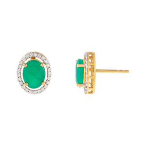 Emerald Green Diamond X Emerald Stone Stud Earring 14K - Adina's Jewels