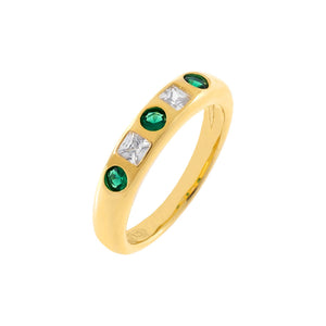 Emerald Green / 6 CZ Colored Dome Ring - Adina's Jewels