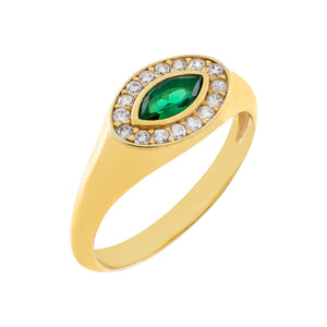 Emerald Green / 7 CZ Colored Evil Eye Ring - Adina's Jewels