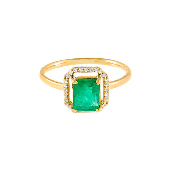 Diamond Illusion Emerald Green Ring 14K - Adina's Jewels