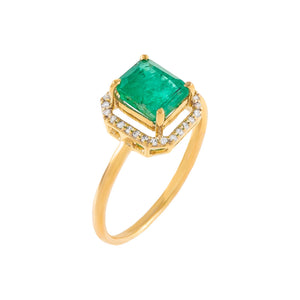Emerald Green / 7 Diamond Illusion Emerald Green Ring 14K - Adina's Jewels
