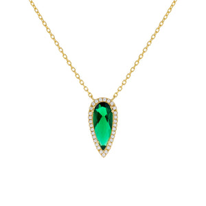 Emerald Green CZ Emerald Teardrop Necklace - Adina's Jewels