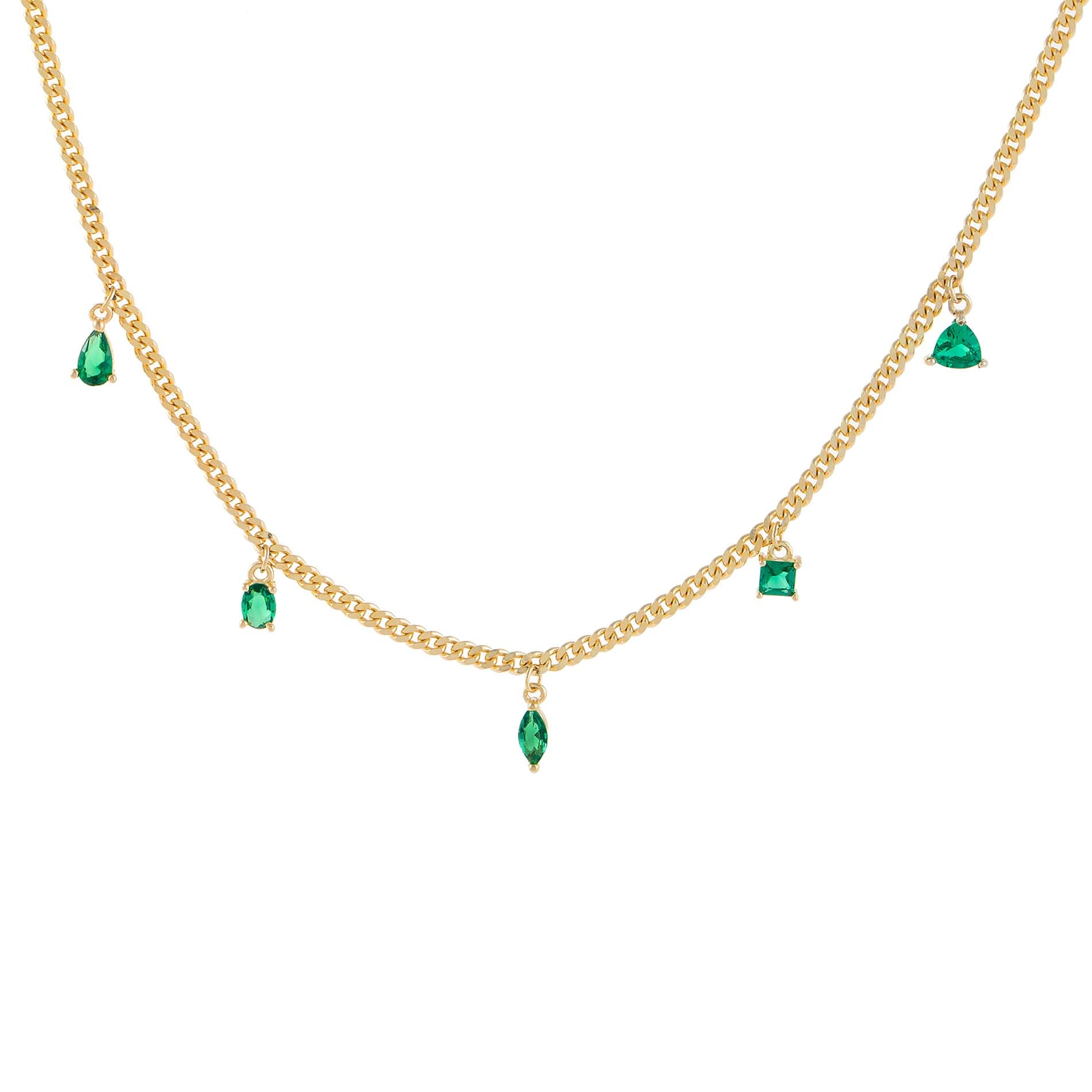 14k Gold Chain Necklace Tiny Dainty Necklace with Cubic Zirconia Stones as Gift for her Emerald Green CZ Stone Charm Necklace