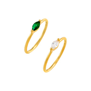 Gold / 5 CZ Colored Marquise Ring Set - Adina's Jewels