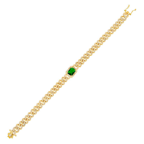 Emerald Green CZ Colored Baguette Chain Link Bracelet - Adina's Jewels