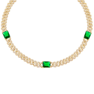 Emerald Green CZ Baguette Chain Link Choker - Adina's Jewels