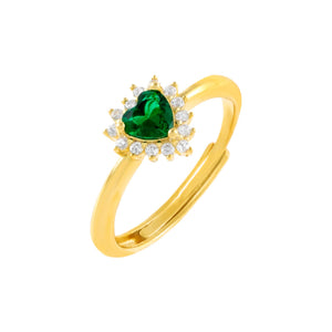 Emerald Green CZ Emerald Green Heart Stone Ring - Adina's Jewels