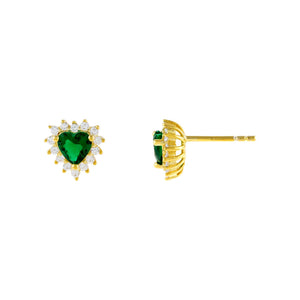 Emerald Green CZ Emerald Heart Stud Earring - Adina's Jewels