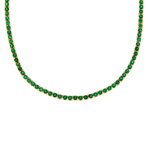 Diamond Emerald Tennis Necklace 14K