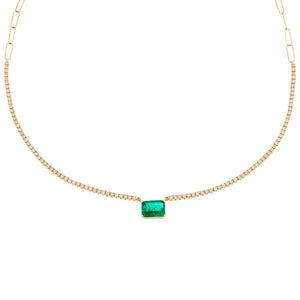 Emerald Green Diamond Emerald Tennis X Link Necklace 14K - Adina's Jewels