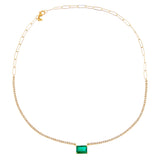 Diamond Emerald Tennis X Link Necklace 14K - Adina's Jewels