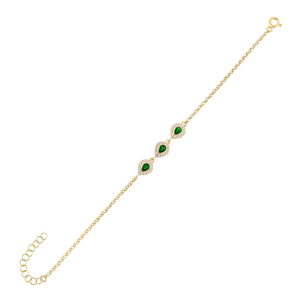 Emerald Green CZ Colored Illusion Teardrop Bracelet - Adina's Jewels