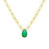 Emerald Green Emerald Green Teardrop Link Necklace - Adina's Jewels