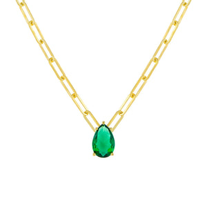 Emerald Green Colored Teardrop Link Necklace - Adina's Jewels